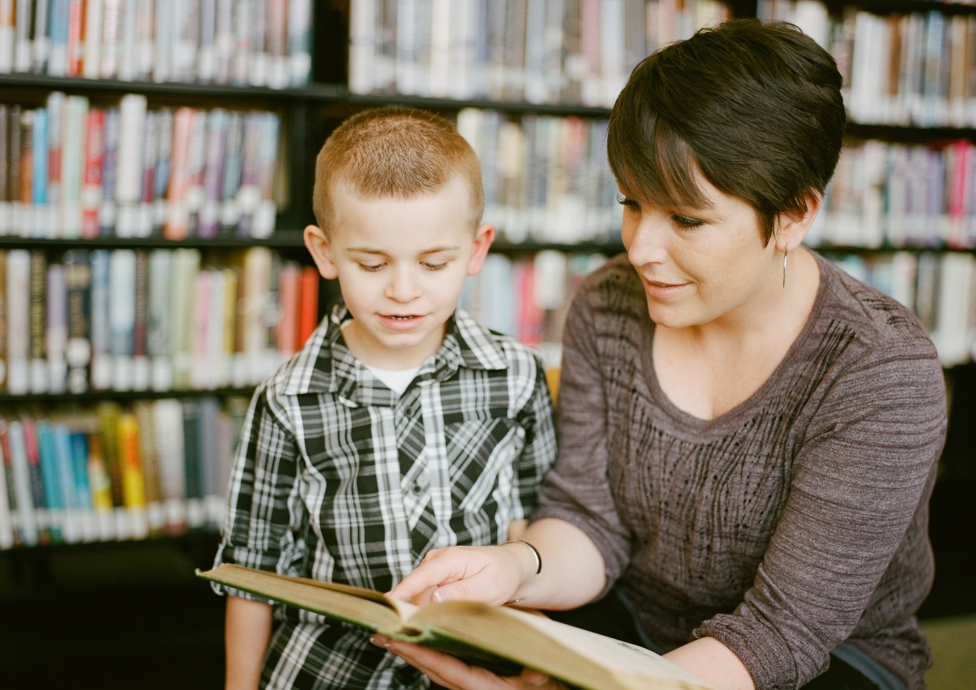 Children and adult reading
